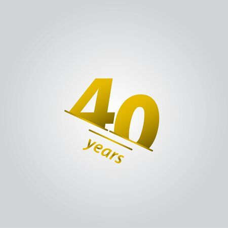 40 Years Anniversary Celebration Gold Line Vector Template Design Illustration