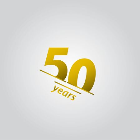 50 Years Anniversary Celebration Gold Line Vector Template Design Illustration Vettoriali