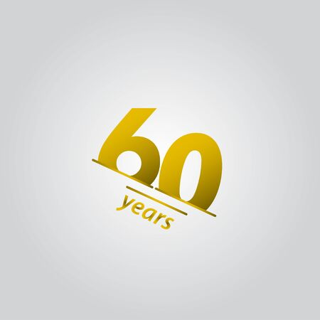 60 Years Anniversary Celebration Gold Line Vector Template Design Illustration Vettoriali
