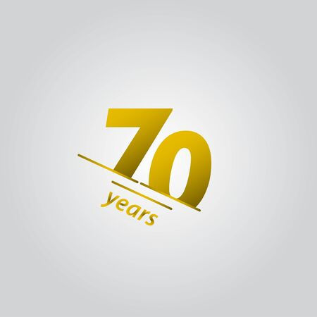 70 Years Anniversary Celebration Gold Line Vector Template Design Illustration