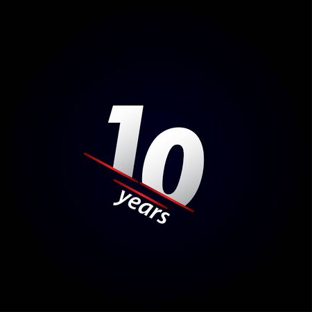 10 Years Anniversary Celebration Black and White Vector Template Design Illustration