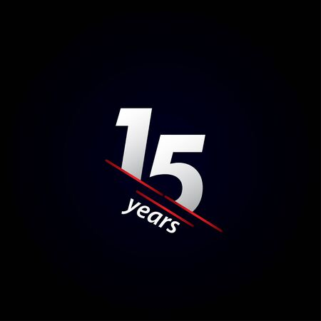 15 Years Anniversary Celebration Black and White Vector Template Design Illustration