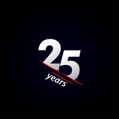 25 Years Anniversary Celebration Black and White Vector Template Design Illustration