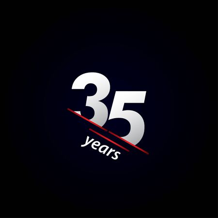 35 Years Anniversary Celebration Black and White Vector Template Design Illustration