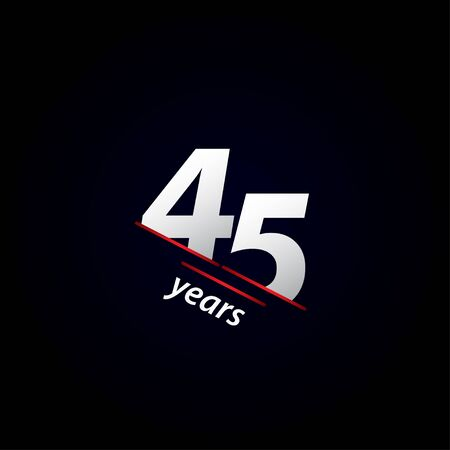 45 Years Anniversary Celebration Black and White Vector Template Design Illustration