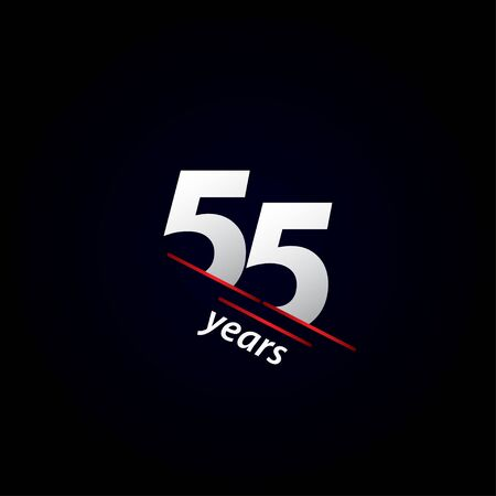 55 Years Anniversary Celebration Black and White Vector Template Design Illustration