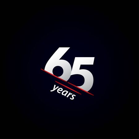 65 Years Anniversary Celebration Black and White Vector Template Design Illustration