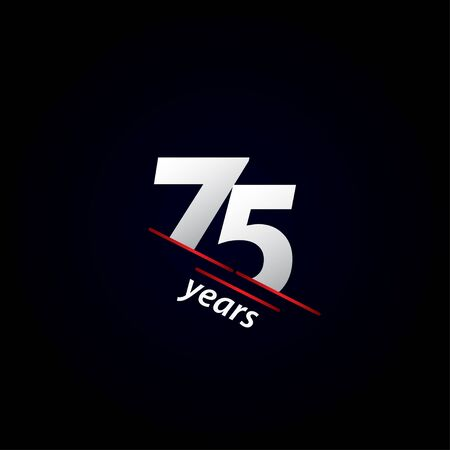 75 Years Anniversary Celebration Black and White Vector Template Design Illustration