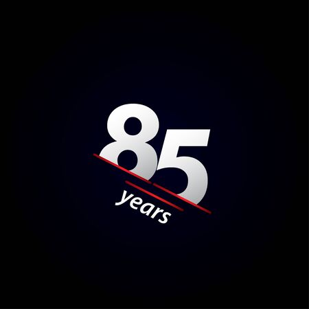 85 Years Anniversary Celebration Black and White Vector Template Design Illustration Vettoriali