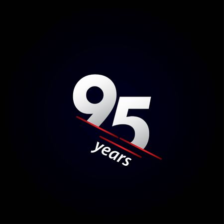95 Years Anniversary Celebration Black and White Vector Template Design Illustration