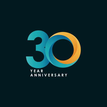 30 Years Anniversary Celebration Full Color Vector Template Design Illustration