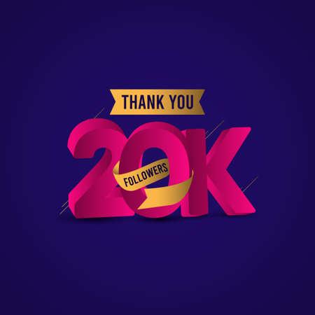 Thank You 20 K Followers Vector Template Design Illustration