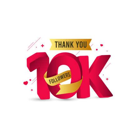 Thank You 10 K Followers Vector Template Design Illustration