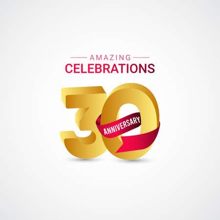 30 Years Anniversary Amazing Celebration Gold Vector Template Design Illustration 向量圖像