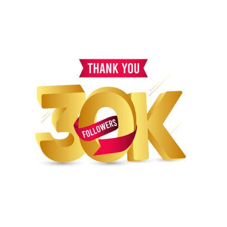 Thank You 30 K Followers Vector Template Design Illustration