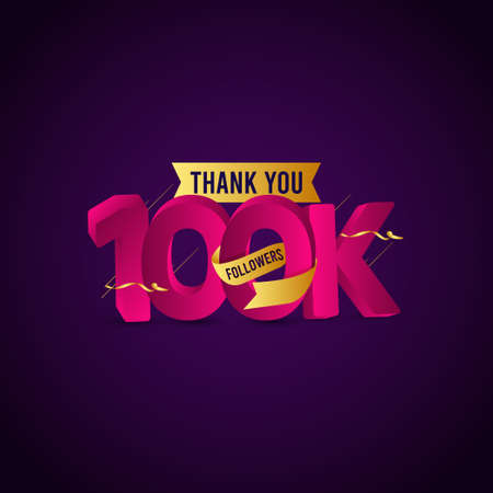 Thank You 100 K Followers Vector Template Design Illustration