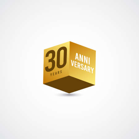 30 Years Anniversary Celebration Gold 3 D Vector Label Logo Template Design Illustration
