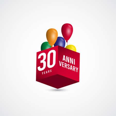 30 Years Anniversary Celebration 3 D Box Vector Label Logo Template Design Illustration 向量圖像