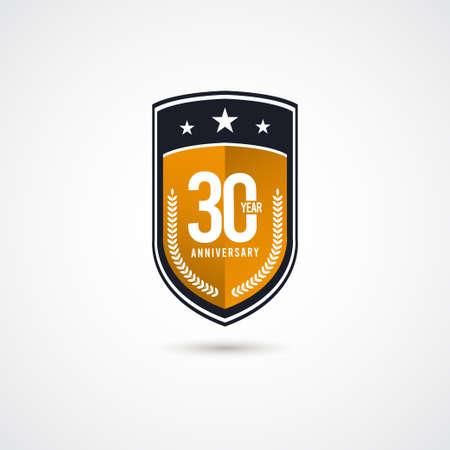 30 Years Anniversary Celebration Vector Label Logo Template Design Illustration