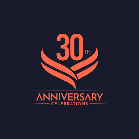 30 Th Anniversary Celebrations Label Text Vector Template Design Illustration