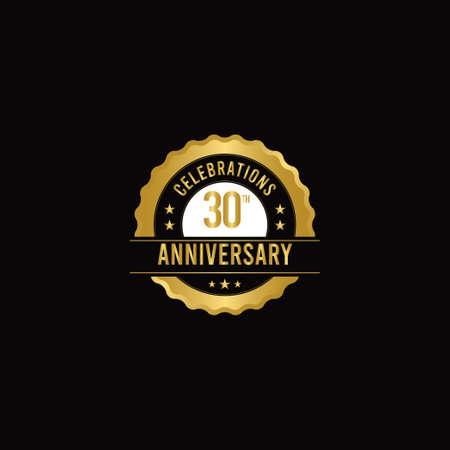 30 Th Anniversary Celebrations Gold Vector Template Design Illustration