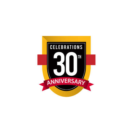 30 Th Anniversary Celebrations Gold Black White Vector Template Design Illustration
