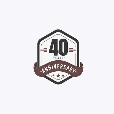 40 Years Anniversary Celebrations Vector Template Design Illustration