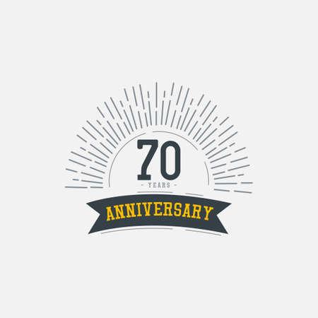 70 Years Anniversary Celebrations Vector Template Design Illustration