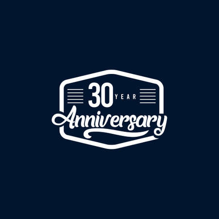 30 Years Anniversary Celebration Retro Vector Template Design Illustration 向量圖像