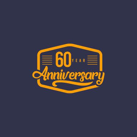 60 Years Anniversary Celebration Retro Vector Template Design Illustration Illustration