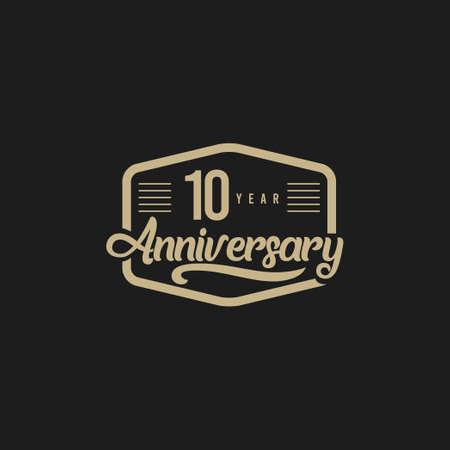 10 Years Anniversary Celebration Retro Vector Template Design Illustration
