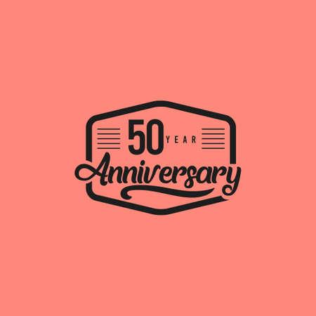 50 Years Anniversary Celebration Retro Vector Template Design Illustration