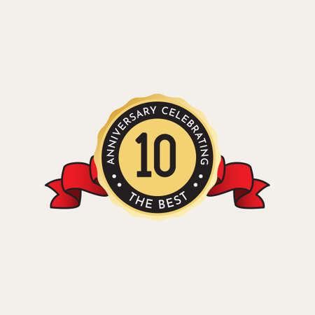 10 Years Anniversary Celebration Vector Template Design Illustration Standard-Bild - 157864329