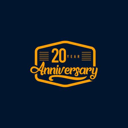 20 Years Anniversary Celebration Retro Vector Template Design Illustration Standard-Bild - 157864332