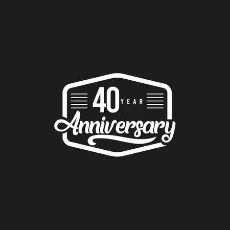 40 Years Anniversary Celebration Retro Vector Template Design Illustration