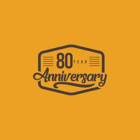 80 Years Anniversary Celebration Retro Vector Template Design Illustration