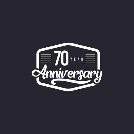 70 Years Anniversary Celebration Retro Vector Template Design Illustration Illustration