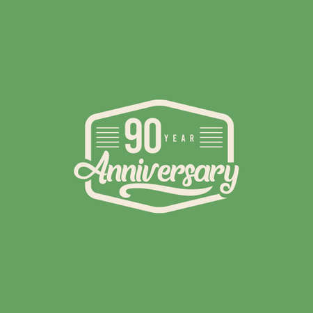 90 Years Anniversary Celebration Retro Vector Template Design Illustration Standard-Bild - 157863581