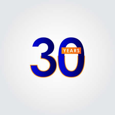 30 Years Anniversary Celebration Blue Vector Template Design Illustration