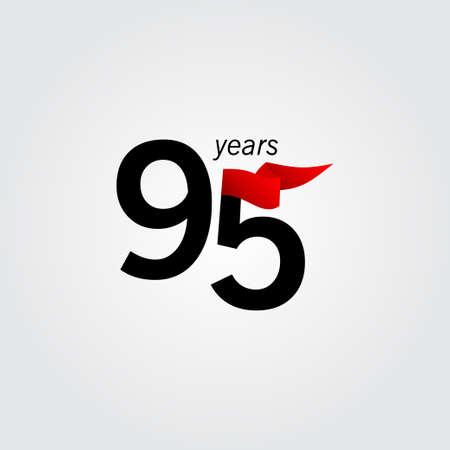 95 Years Anniversary Celebration Vector Template Design Illustration