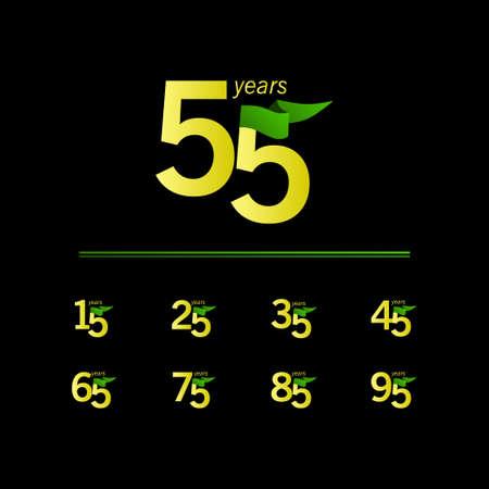 55 Years Anniversary Celebration Vector Template Design Illustration