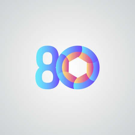 80 Years Anniversary Celebration Vector Template Design Illustration