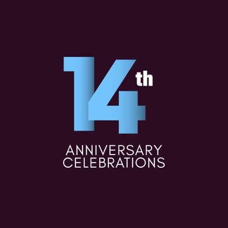 14 th Anniversary Celebration Vector Template Design Illustration