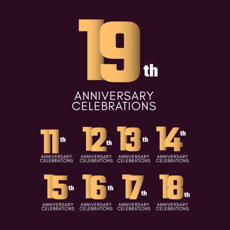 19 th Anniversary Celebration Vector Template Design Illustration