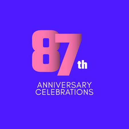 87 th Anniversary Celebration Vector Template Design Illustration