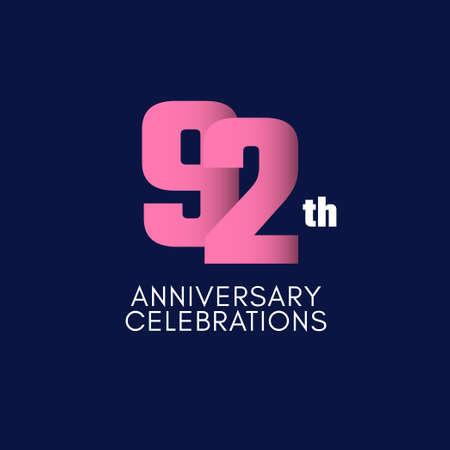 92 th Anniversary Celebration Vector Template Design Illustration