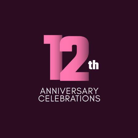 12 th Anniversary Celebration Vector Template Design Illustration