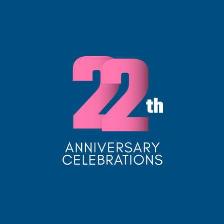 22 th Anniversary Celebration Vector Template Design Illustration Stockfoto - 157945126