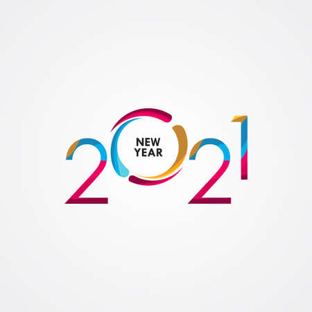 Happy New Years 2021 Celebration Vector Template Design Illustration Иллюстрация