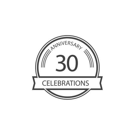 30 Years Anniversary Celebration Retro Vector Template Design Illustration Stock Illustratie